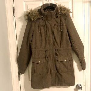 NY&Co. Wool Coat w/Removable Fur Hood